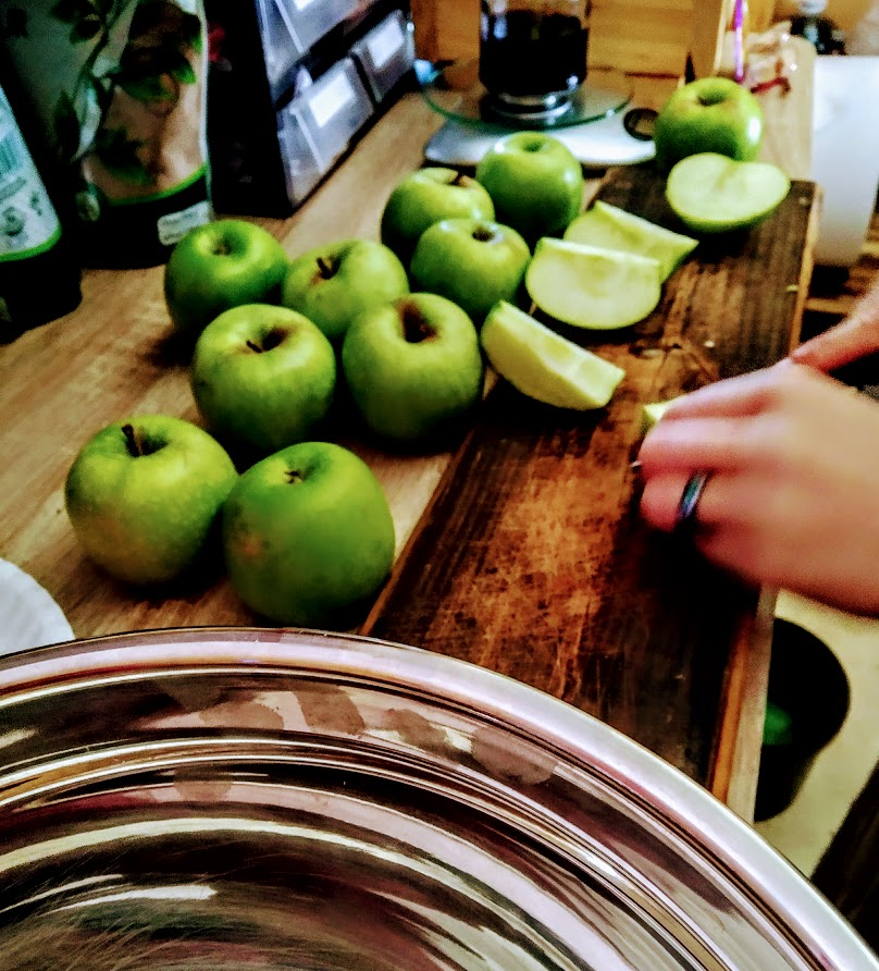 Alexia cutting up apples into smaller slices for the upcoming hard times cider.