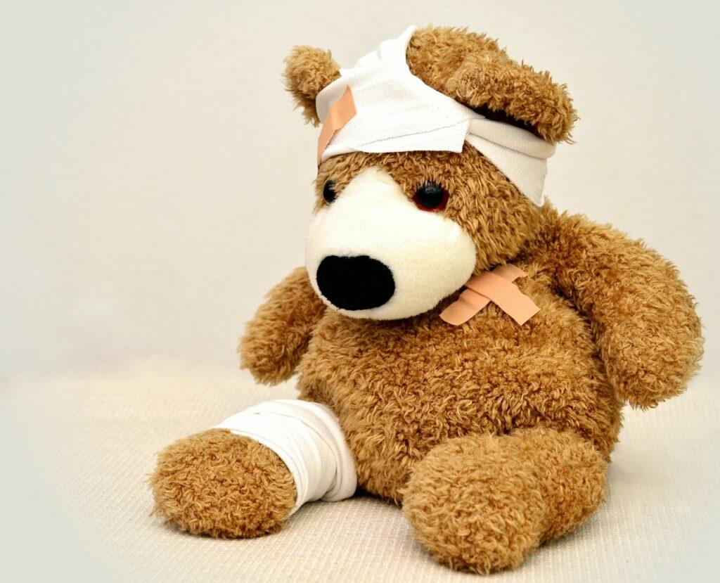 Teddy bear with injury